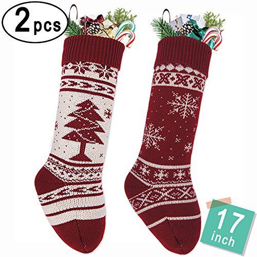 """LimBrige 2 Pack 17"""" Large Knit Knitted Christmas Stockings, Classic Xmas Tree / Snowflake, Rustic Personalized Stocking Decorations for Family Holiday Season Décor, White/Red"""