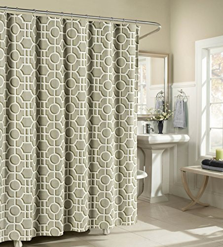Lenox 100 Percent Cotton Luxury Fabric Shower Curtain