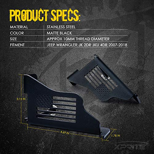 1 Pair Flag for 2007-2018 Jeep Wrangler JK 2DR JKU 4DR Xprite Jeep Front Black Steel Foot Pegs with U.S