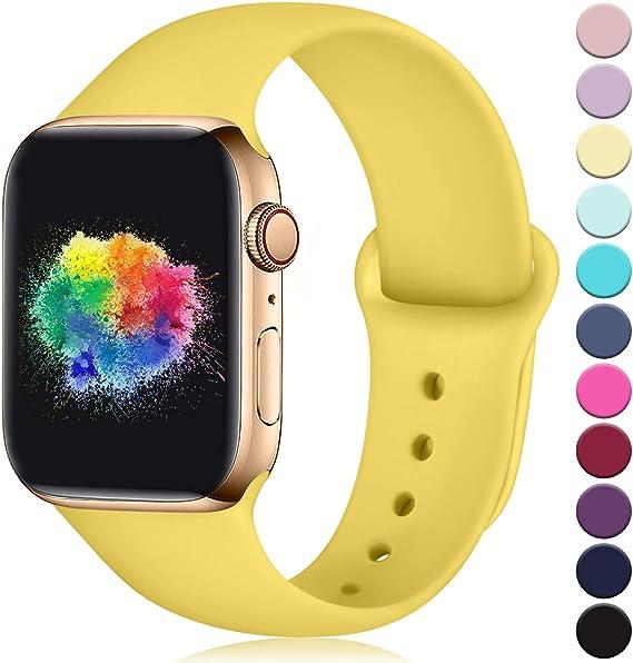 Imagen deYoumaofa Correa Compatible con Apple Watch 42mm 44mm, Correa de Silicona Repuesto Pulsera Deportivas para iWatch Series 5 Series 4 Series 3 Series 2 Series 1, 42mm/44mm M/L Mango Amarillo