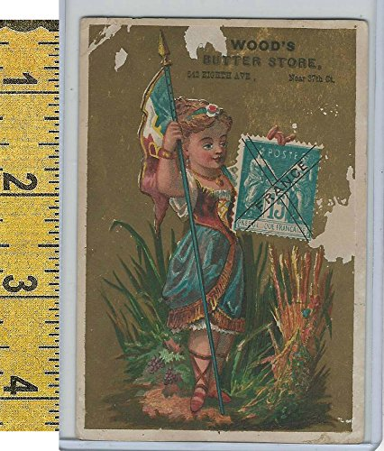 Victorian Card 1890s Woods Butter Store New York Flag Girl Stamp France At Amazons Entertainment Collectibles