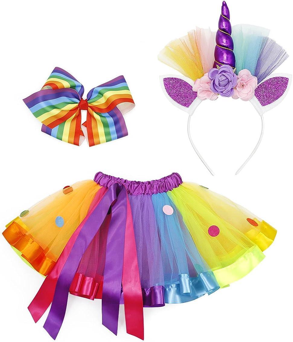 AmzBarley Gonna Tutu da Unicorno per Bambina Ragazza Costume Sirena Arcobaleno Squame di Pesce Fermaglio e Fascia per Capelli Festa Compleanno Danza