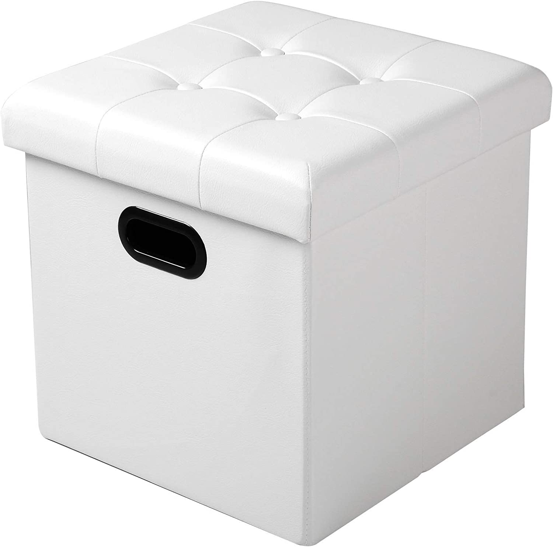 WOLTU SH15ws Tabouret Pouf Coffre Cube Repose Pieds avec Espace de Rangement Boîte de Rangement Pliables en Simili Cuir,37,5 * 37,5 * 38cm,Blanc