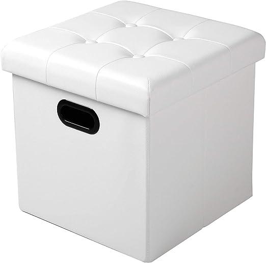 WOLTU Taburete Cubo Taburete con Caja de Almacenamiento Cofres Caja de Almacenamiento Plegable, Tapa Extraíble, con Asas, Asiento Acolchado de Imitación Cuero, 37.5 * 37.5 * 38CM, Blanco,SH15ws: Amazon.es: Hogar