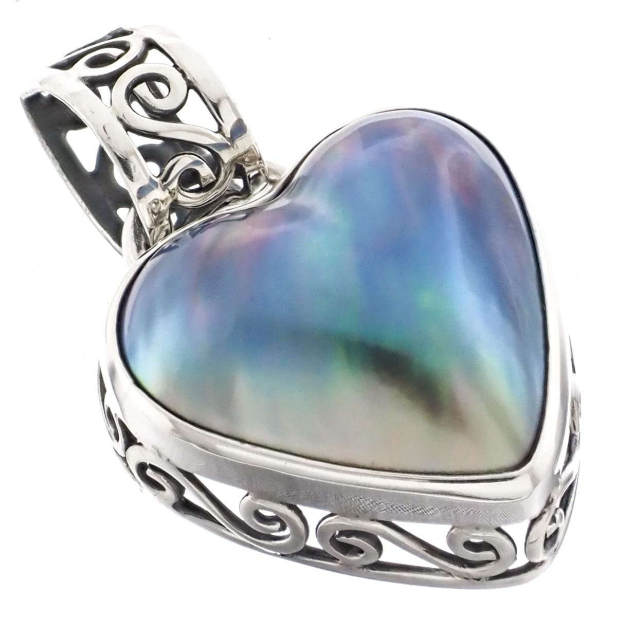 """1 1//8/"""" HEART VALENTINE WHITE MABE PEARL 925 STERLING SILVER pendant"""