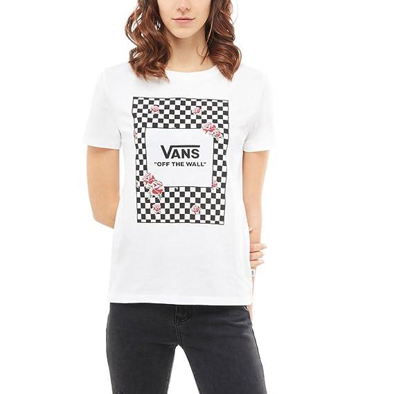 f1f4cbbffac16 Vans Tee Shirt Femme Boxed Rose Checks Blanc (L, Blanc)  Amazon.fr ...