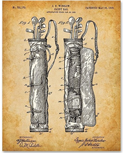 Golf Club Bag Art - 11x14 Unframed Patent Print - Great Gift for - Golf Collectible