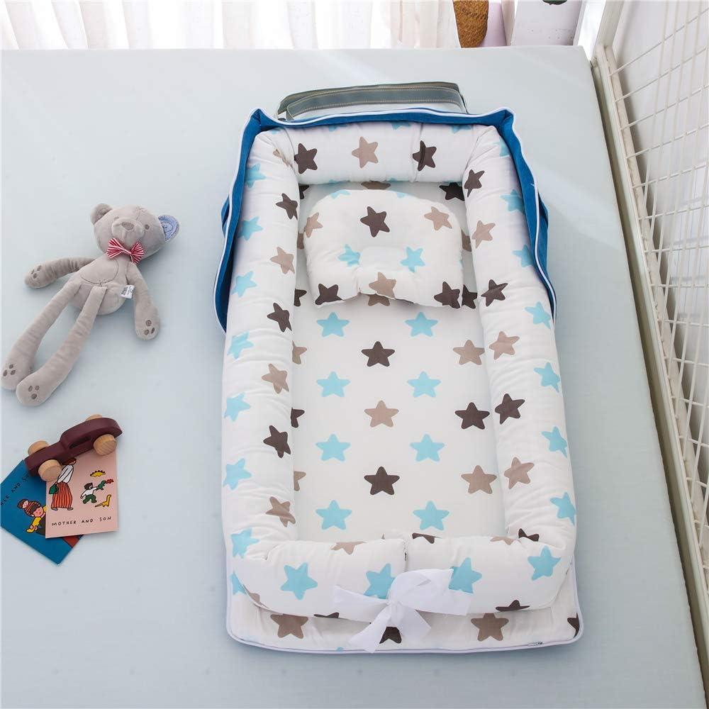 Capazo de Beb/é TEALP Tumbona para beb/é con Almohadas Nido Transpirable para Beb/é Reci/én Nacido para Cosleeping Estrella de Color