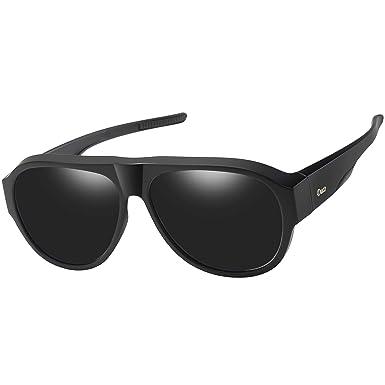 932e36cc6d DUCO Pilot Style Men s and Women s Polarised Wrap Around Fit-Over Sunglasses  over Prescription Glasses