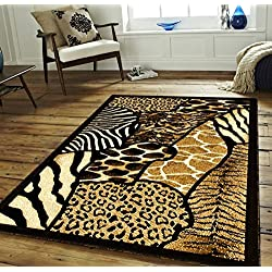 Exotic Safari Design Area Rug, Vintage Leopard Zebra Cheetah Giraffe Patterned, Rectangle Indoor Hallway Doorway Living Area Cabin Bedroom Carpet, Earthy Animal Skin Motif, Tan, Black, Size 5'2 x 7'2
