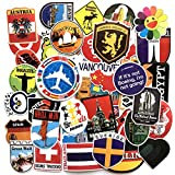 Travel Map Stickers Sheet 40-Piece Waterproof Skateboard Pad MacBook Car Snowboard Bicycle Luggage Décor (Travel Map)