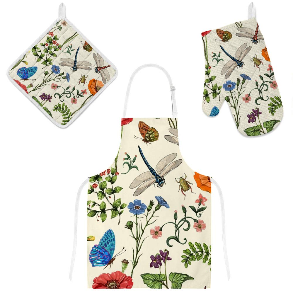 Top Carpenter Polyester Insulation Kitchen Oven Mitts Potholder Apron 3Pcs Set Plants Insects Flowers in Vintage Style Non Slip Heat Resistant Gloves for Baking Cooking BBQ