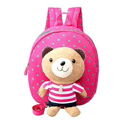 Buy Kids Backpack Anti-Lost School Bag with A Leash   Removable Cartoon  Bear with Stripe Pattern Light Children Shoulder Bag (Rose Red) Online at  Low Prices ... e8c488068763c