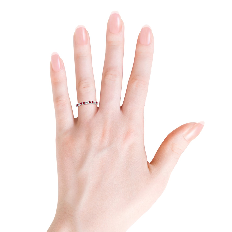 Amazon.com: Round Natural Ruby and Diamond Half Eternity Wedding ...