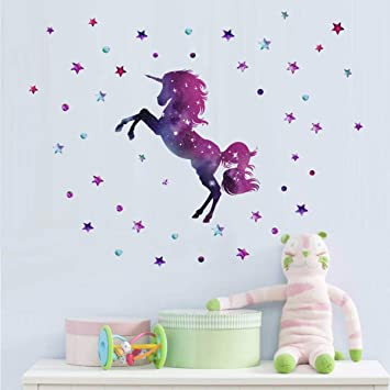 Amazon Com Bamsod Dream Unicorn Decals Star Wall Decals Girls Wall Decals Bedroom Wall Decor Removable Peel And Stick Wall Stickers Baby