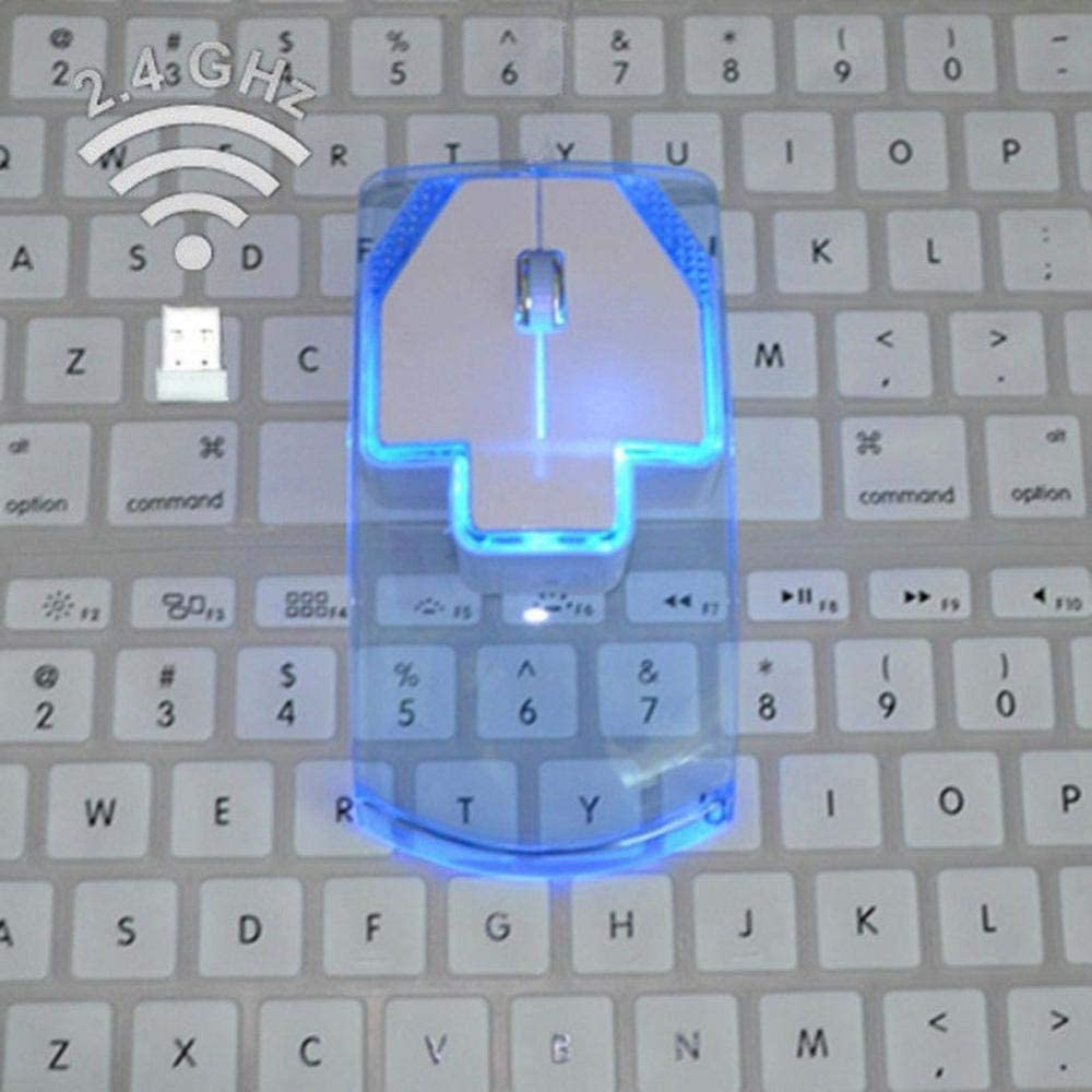 2.4GHz Wireless Mouse Transparent Ultra Thin Luminous Optical Mice for PC Laptop EM88 Transparent
