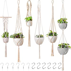 Hanging Plants for Bedroom Decor – 6 pack Macrame Plant Hangers Boho-Chic Cotton Rope, Hanging Pot Holder for Indoor and Outdoor Home Decor - Decorative Bohemian Hanging Planter