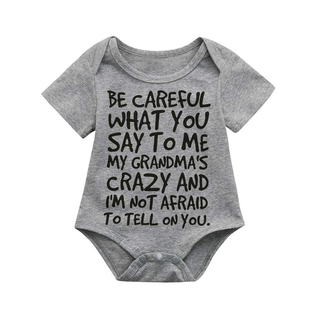 uBabamama Newborn Baby Solid Color Romper Letter Print Jumpsuit Outfits Sunsuit Clothes 0-24 Months