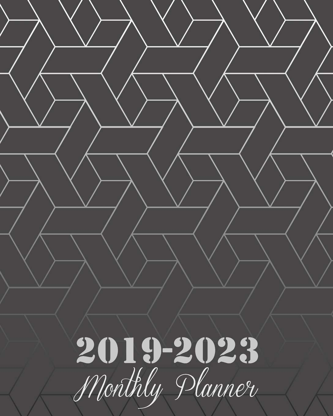 """2019-2023 Monthly Planner: Black Art Abstract Cover, 8"""" x 10"""" Five Year 2019-2023 Calendar Planner, Monthly Calendar Schedule Organizer (60 Months ... With Holidays and inspirational Quotes"""