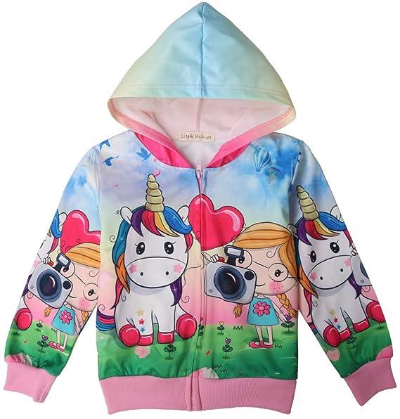 Leslady Camisetas para niña Sudadera con Capucha Unicornio con Estampado 3D con Cremallera: Amazon.es: Ropa y accesorios