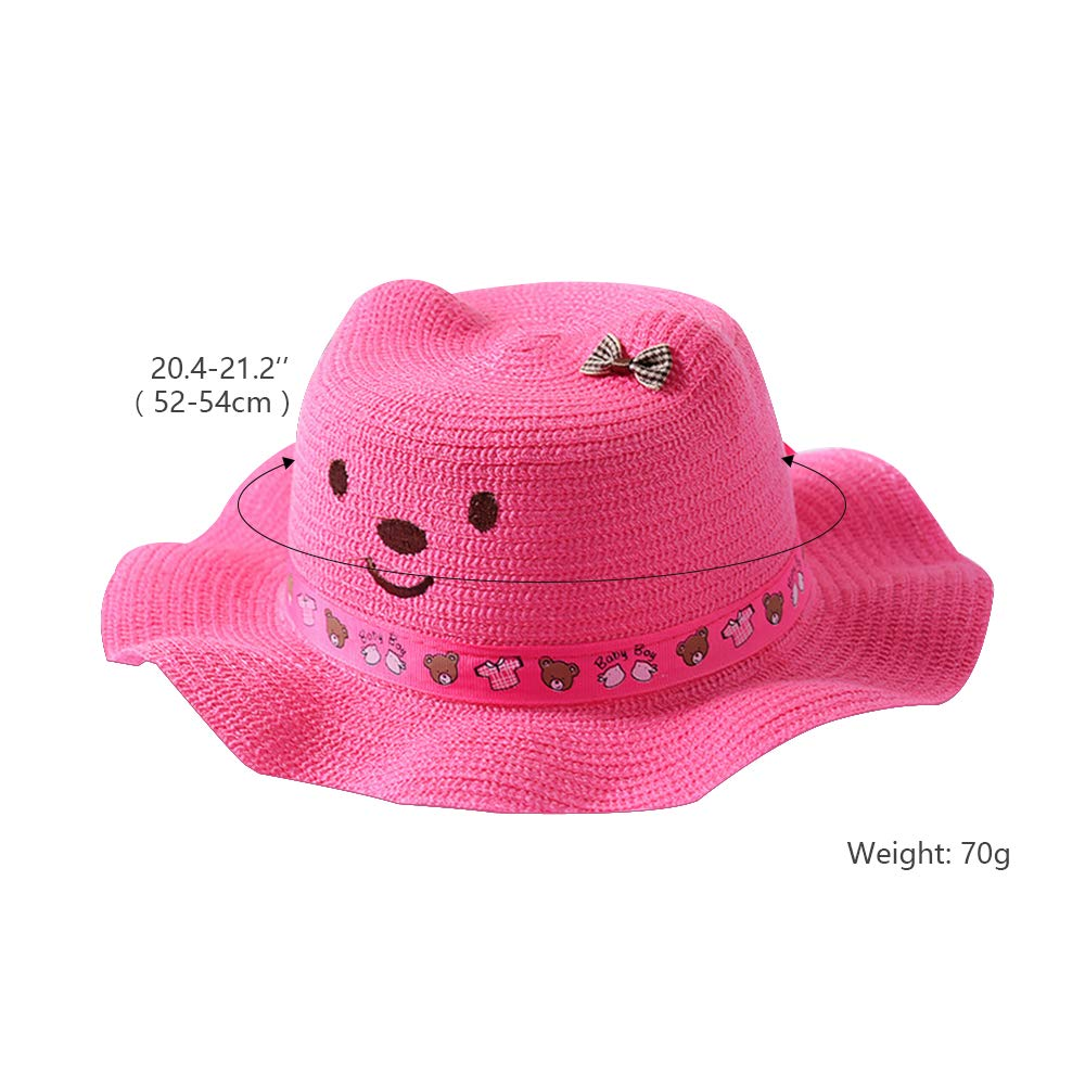 QTKJ Kids Anti-UV Straw Sun Hat Wide Brim Beach Hat with Cute Bear and Bow Decorative Cat Ear Summer Cap for Girl Boys Rose Red