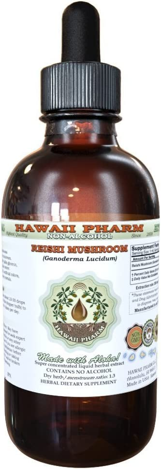 Reishi Alcohol-FREE Liquid Extract – Tonic of Emperors, Organic Reishi Mushroom Ganoderma Lucidum Dried Mushroom Glycerite Natural Herbal Supplement, Hawaii Pharm, USA 4 fl.oz