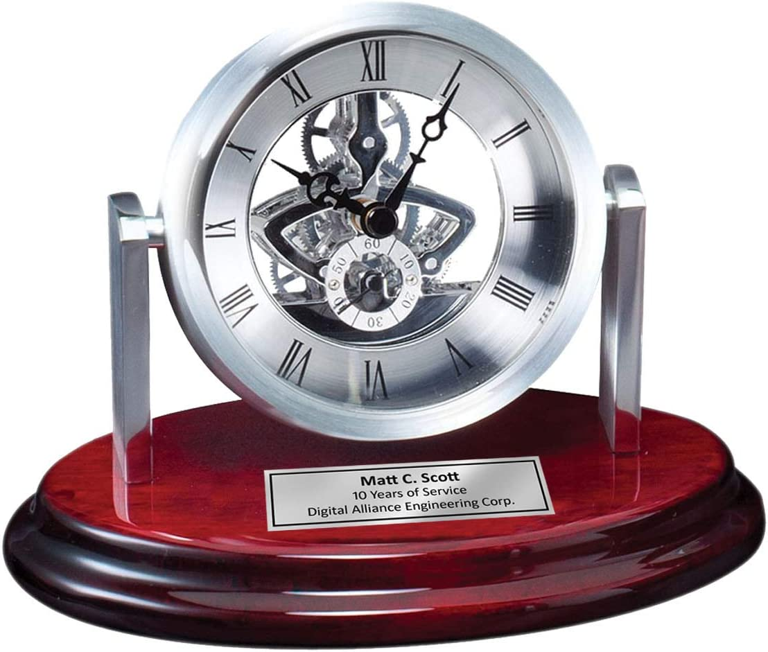 Round Silver Da Vinci Dial Desk Table Clock on Cherry Wooden Base