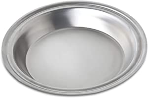 """360 Stainless Steel Pie Pan, Handcrafted in the USA, 5 Ply, Surgical Grade Stainless Bakeware, Dishwasher Safe, Professional Grade, Use as Baking Pan, Roasting Pan(10"""" Diameter)"""