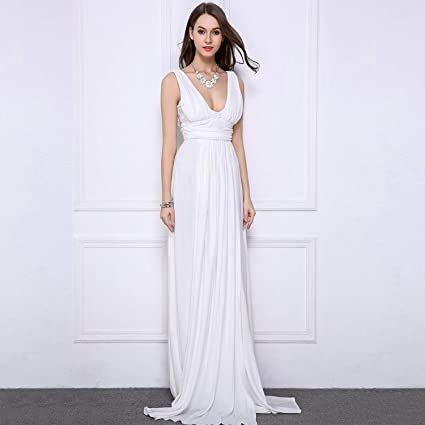 00d542a925f4 Amazon.com: CJJC Ladies Wedding Dresses Elegant Simple V-Neck Floor Length  Backless Sheer Chiffon Ceremony Evening Party Ball Gown White Bride Dresses  with ...