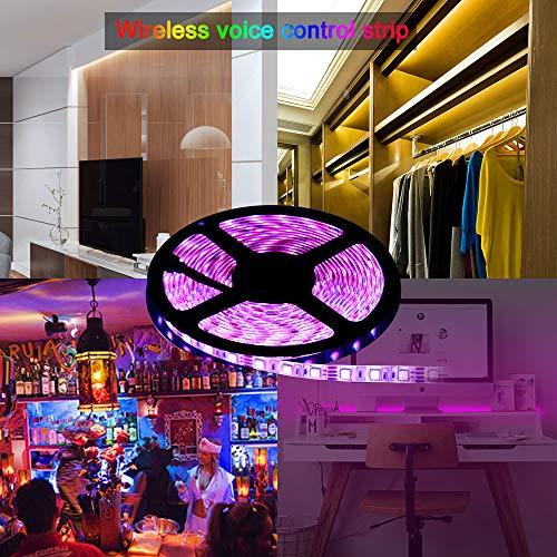 Hangrui Technology Indoor String Lights HANGRUI LED Strip Lights LED Lights Sync to Music 16.4Ft//5M LED Light Strip 300 LED Lights SMD 5050 Waterproof Flexible RGB Strip Lights IR Controller+12V 3A Power