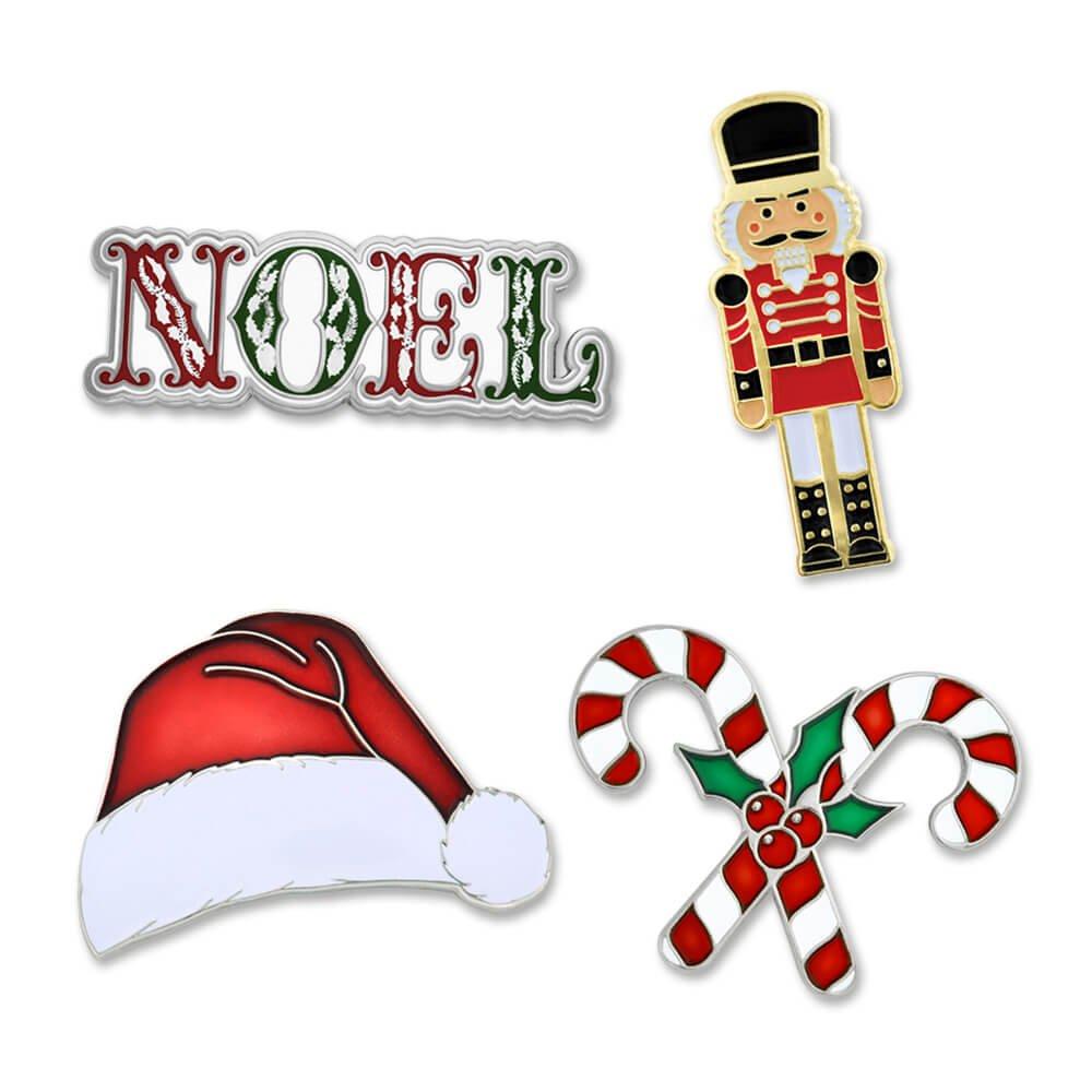 PinMart Festive Christmas Holiday Candy Cane Noel Enamel Lapel Pin Set