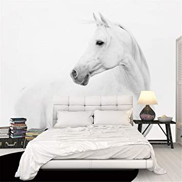 zyyaky Wallpaper, Wandbild Weißes Pferd Wanddekoration 3D ...