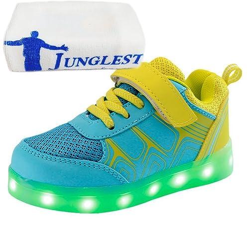 junglest (Presente:Pequeña Toalla) Zapatos Deportivos para Niño Niña Brillantes Luz para Danza Baile Fiesta Zapatillas LED Carga: Amazon.es: Zapatos y ...