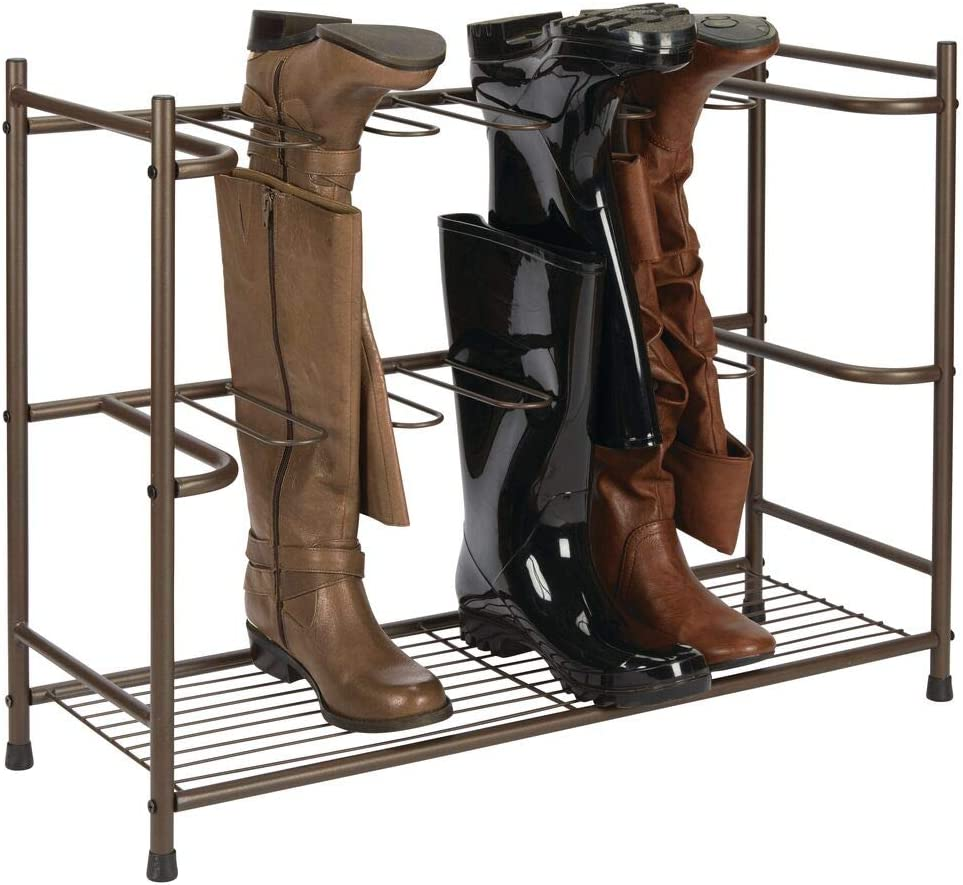 Amazon Com Mdesign Boot Storage And Organizer Rack Space Saving Holder For Rain Boots Riding Boots Dress Boots Holds 6 Pairs Sleek Modern Design Sturdy Steel Construction Espresso Brown Finish Home
