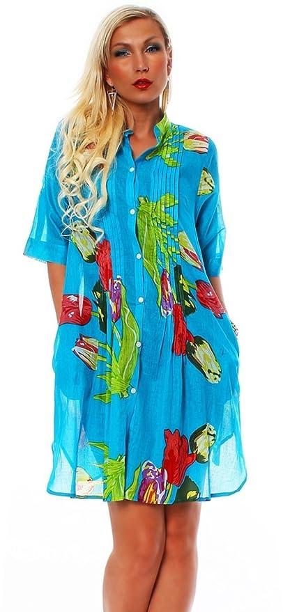 10531 Weich fließende Bluse Tunika Minikleid Hemd Retro Floral-Prints