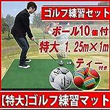 【特大サイズ 練習用マット】1.25m×1m ティー&ボール付き