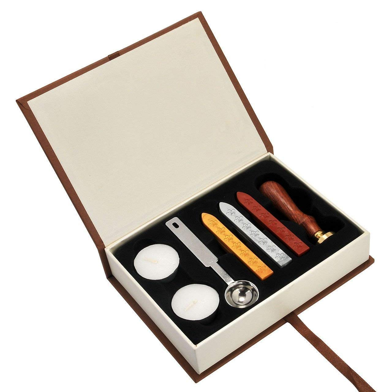 Arts & Crafts New Vintage Harry Potter Hogwarts School Badge Wax Seal Stamp Kit Ministry of - Red, Gold, Gray Wax Sticks with Tea Candles and Spoon- Great Gift Idea for a Friend Or Movie Lover Belovelife