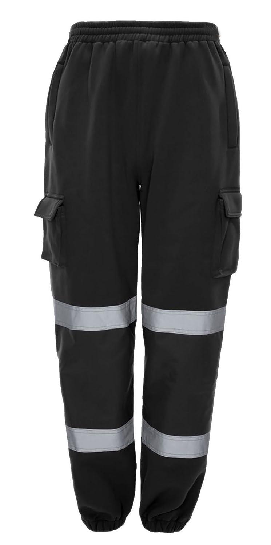 Hi Viz Vis High Visibility Trouser Mens Jogging Bottoms Work Wear Safety Pants REAL LIFE FASHION LTD
