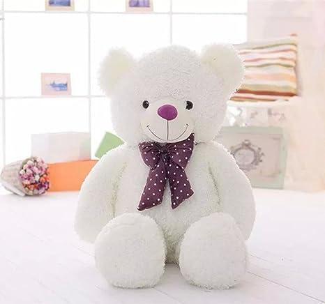 VERCART Bonbonfarben Weiß Modisch Riesen Teddybär Größe 120cm mit bogen Krawatte