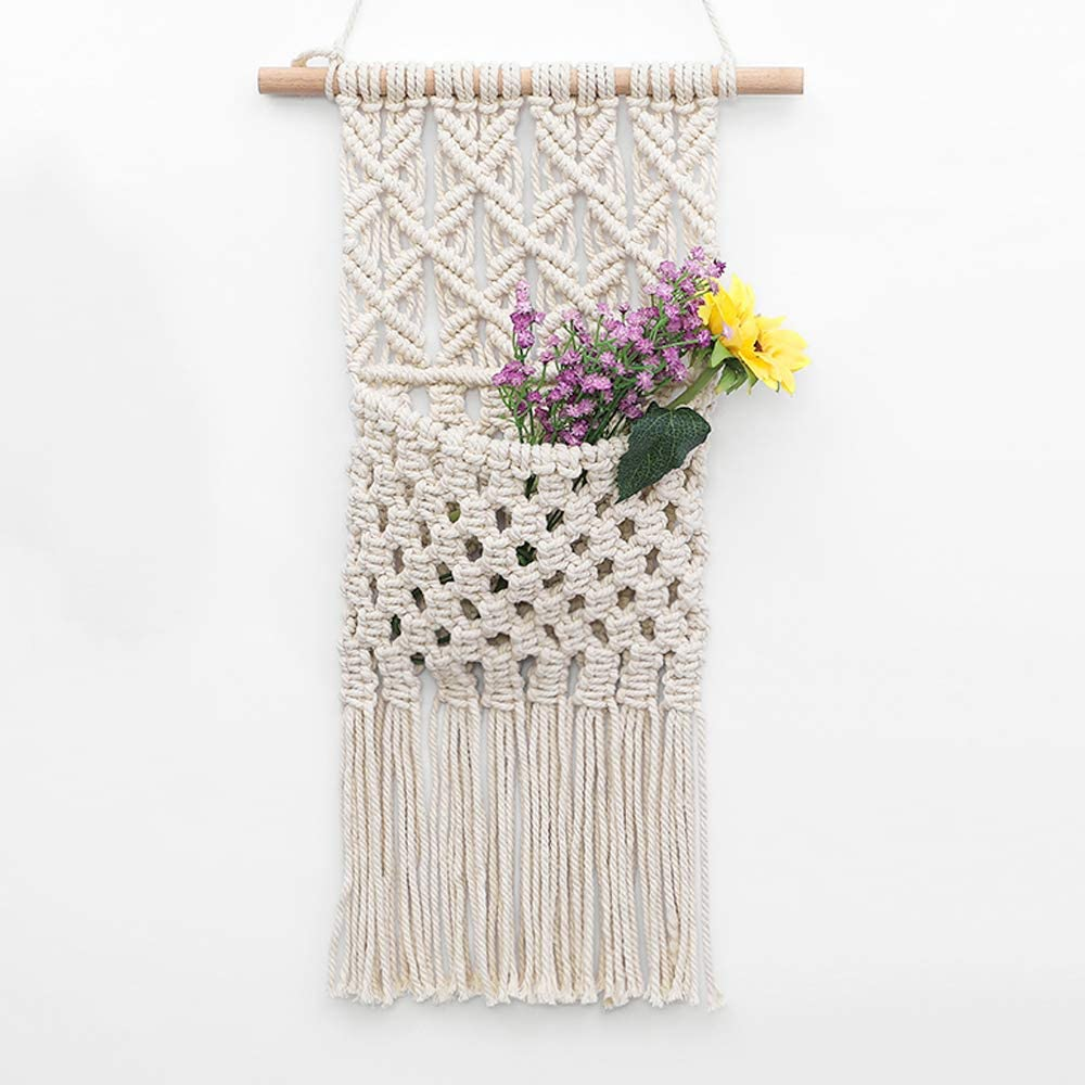 "OAKEER Macrame Flowers Storage Key Organizer Mail Holder Cotton Woven Hanging Pocket Boho Wall Decor Art,11"" W X 19.6"" L"