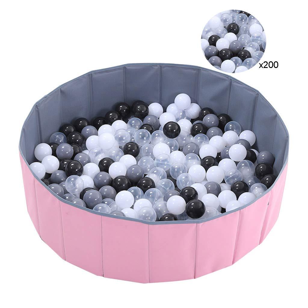 キッズラウンドボールピット、食品グレードマリンボール、セーフティプレイセンターヤード、折りたたみ式、ポータブル、屋内屋外保育園ベビーベビーサークル(ピンク) 100x30cm  B07TPYR26Z
