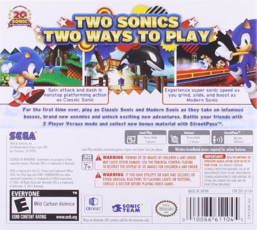 Sonic Generations - Nintendo 3DS by Sega (Image #1)