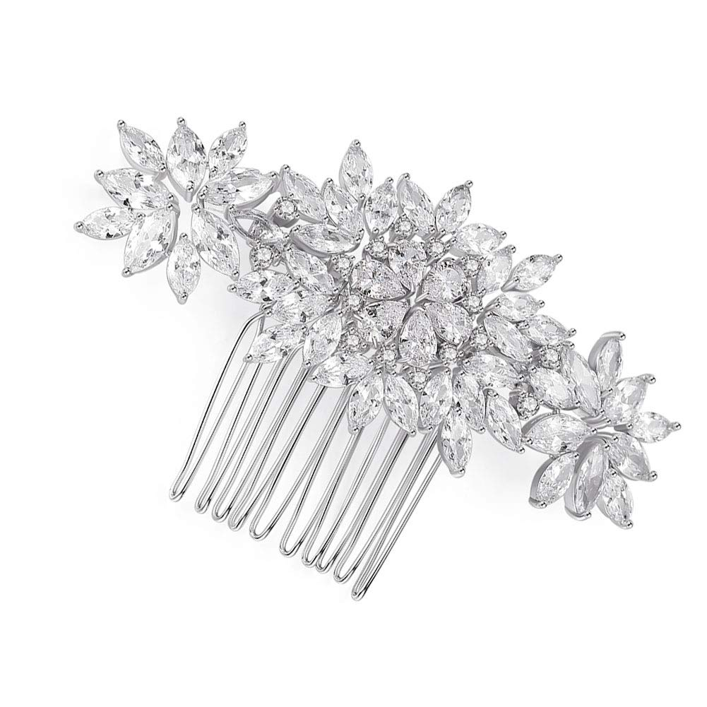 Wedding Hair Comb Hair Clip- Handmade Crystal CZ Cubic Zirconia Hair Comb Bridal Hair Accessories for Bridal and Bridesmaid Silver by CZCITY