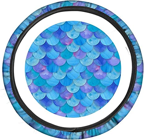 Set of 3 FUIBENG Blue Mermaid Fish Scale Design Anti-Slip Car Steering Wheel Covers /& 2 Packs Seat Belt Pads Women Girls Car Interior Accessories