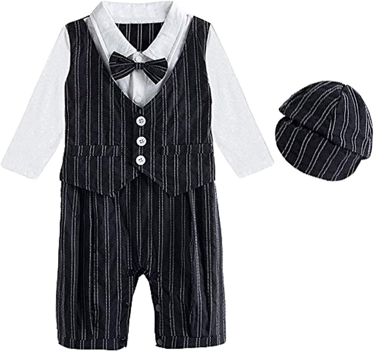 MOMBEBE COSLAND Baby Boys Pilot Romper with Tie and Hat