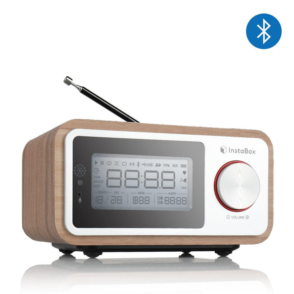 InstaBox i30 Wooden Clock Radio, Portable Retro Bluetooth Speaker, Digital FM Radio Multi-Functional MP3 Player, Supports Micro SD/TF Card and USB with Remote Control, Heavy Bass with Dual Subwoofers by InstaBox