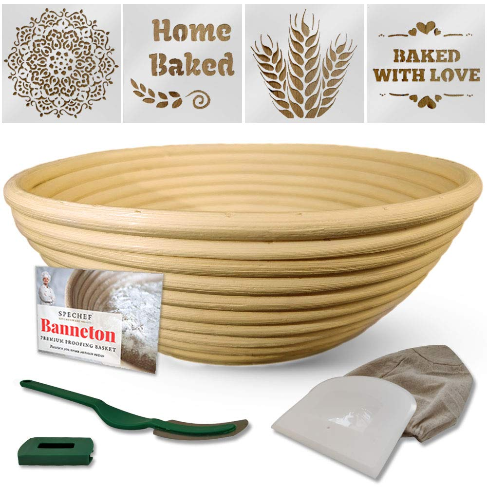 9 Inch Banneton Proofing Basket - Bread Tools Proofing Basket Set - Round Banneton Basket + Cloth Liner + Bread Stencils + Dough Scraper + Bread Lame Proofing Basket For Sourdough Bread Artisan Bread