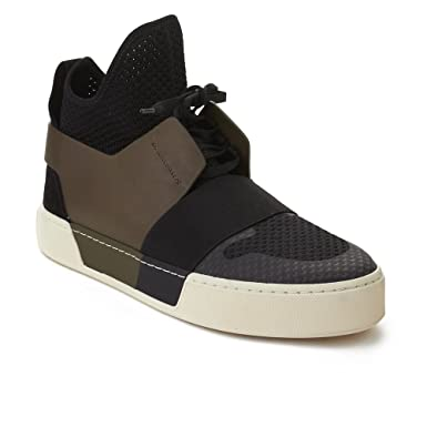 0886d356183e Image Unavailable. Image not available for. Color  Balenciaga Men s Elastic  Trainer High Top Sneaker Black Olive