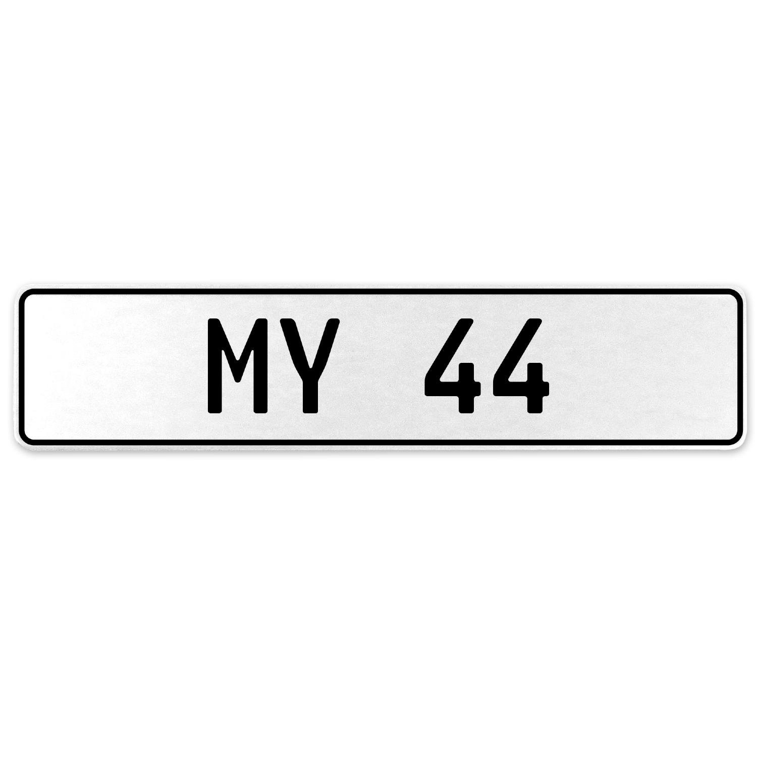 Vintage Parts 555136 My 44 White Stamped Aluminum European License Plate