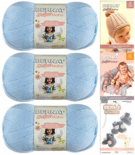 Bernat Softee Baby Yarn 3 Pack Bundle Includes 3 Patterns DK Light Worsted (Pale Blue) - Yarn Worsted Shine